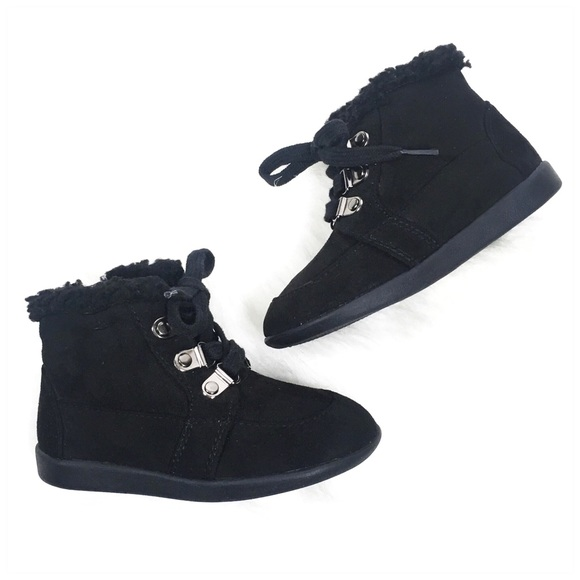 happy soda Other - Happy Soda Toddler Girl Black Faux Suede Fur Boots